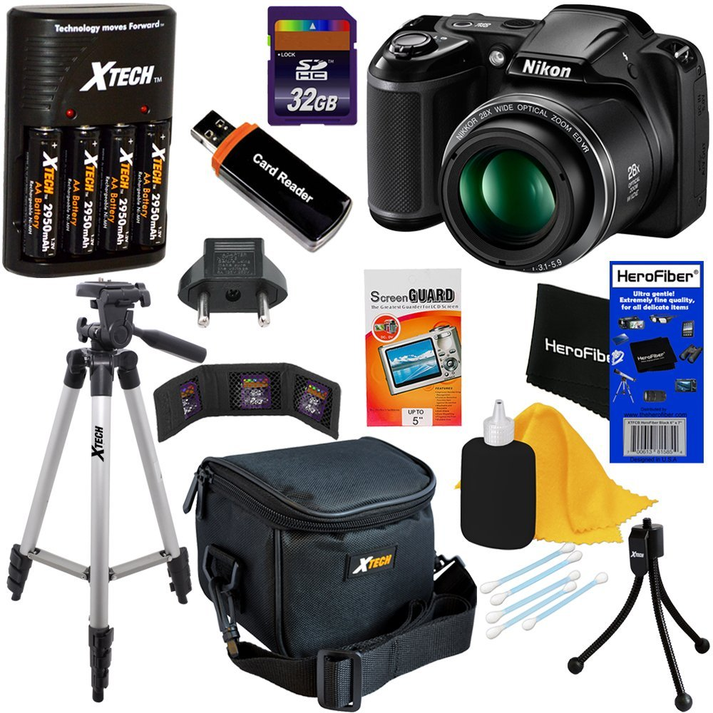 Amazon.com : Nikon COOLPIX L340 Digital Camera with 28x Zoom & Full HD Video (Black) International Version + 4 AA Batteries & Charger + 32GB Dlx Accessory Kit w/HeroFiber Cleaning Cloth