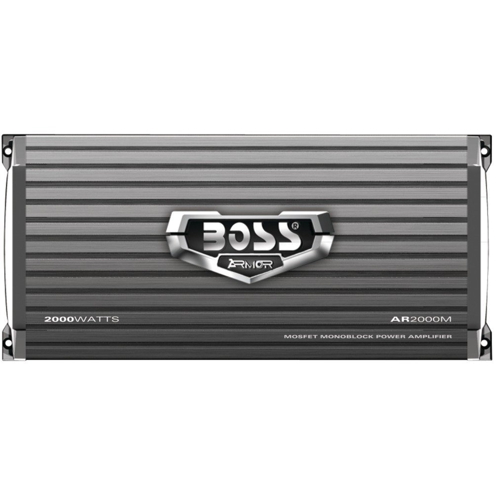 BOSS AUDIO AR2000M Armor 2000-Watt Monoblock, Class A/B 2-8 Ohm Stable Monoblock Amplifier with Remote Subwoofer Level Control