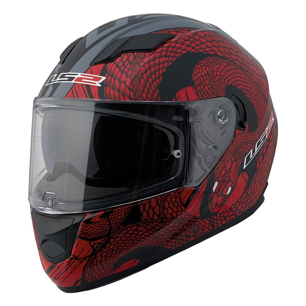 LS2 Stream Snake Full Face Motorcycle Helmet With Sunshield (Red/Black, Medium)