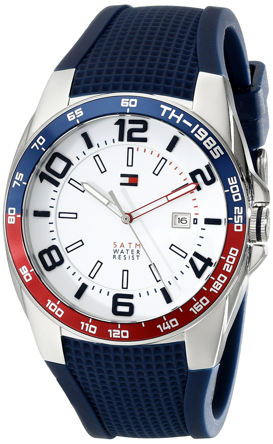 Tommy Hilfiger Men's 1790885 Stainless Steel Watch With Blue Silicone Band: Tommy Hilfiger