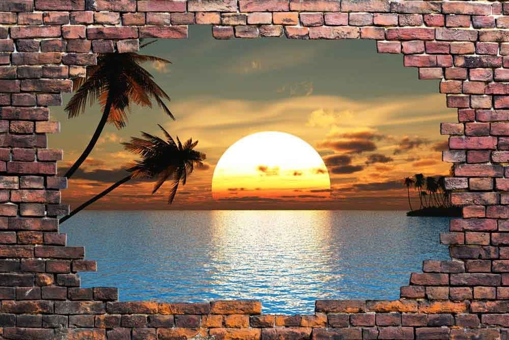 "Wall26 - Large Wall Mural - Sunset at Tropical Sea Viewed through a Broken Brick Wall | 3D Visual Effect Self-adhesive Vinyl Wallpaper / Removable Modern Decorating Wall Art - 66"" x 96"""