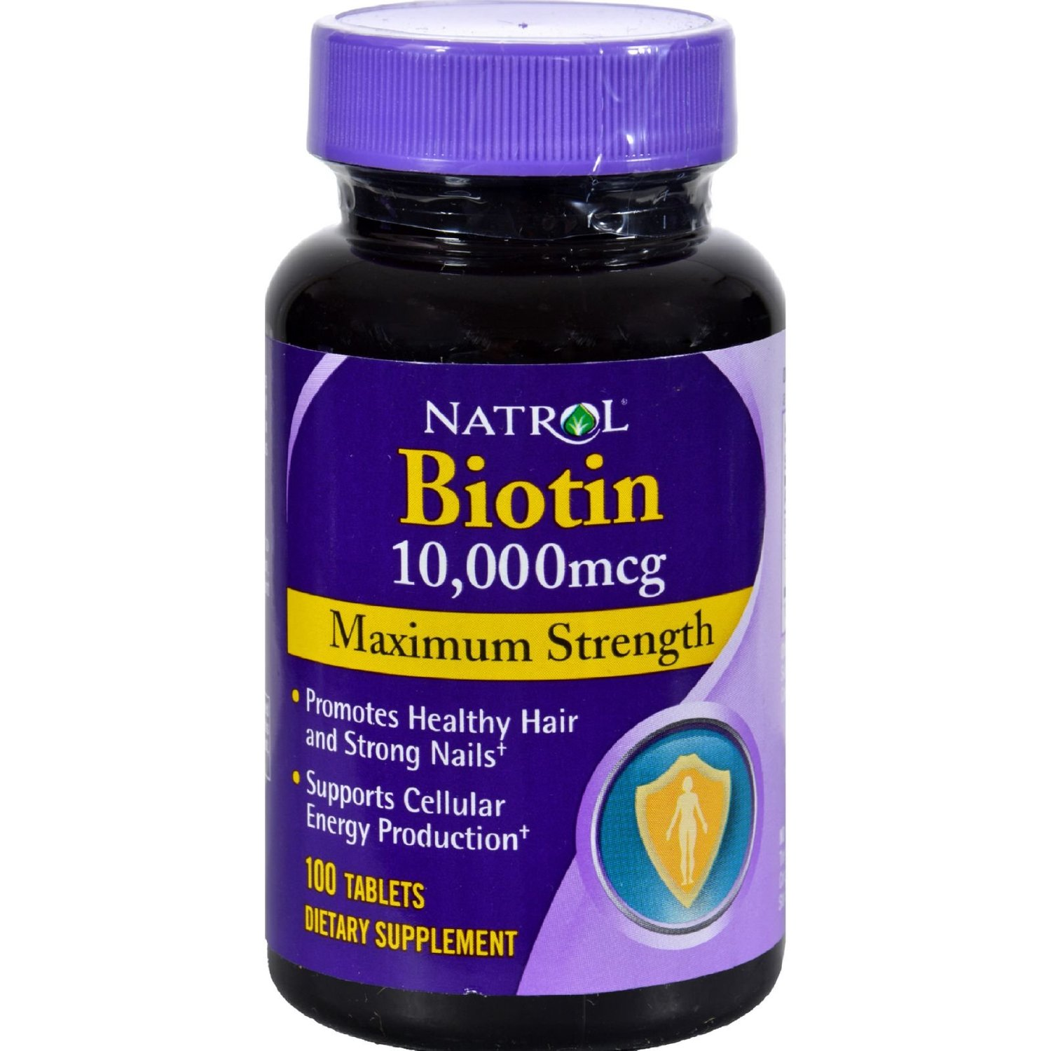 Natrol Biotin - 10000 mcg - 100 Tablets - Promotes Healthy Hair and Strong Nails - Supports Cellular Energy Production - Maximum Strength