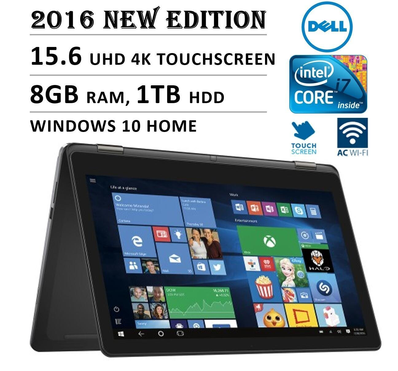 "2016 Newest DELL 7000 Series Inspiron 2-in-1 15.6"" 4K 3840 x 2160 UHD Touch-screen Flip Convertible Laptop, Intel Core i7 6500U up to 3.1 GHz, 8GB RAM, 1TB HDD, 802.11AC, Bluetooth, HDMI, Windows 10"