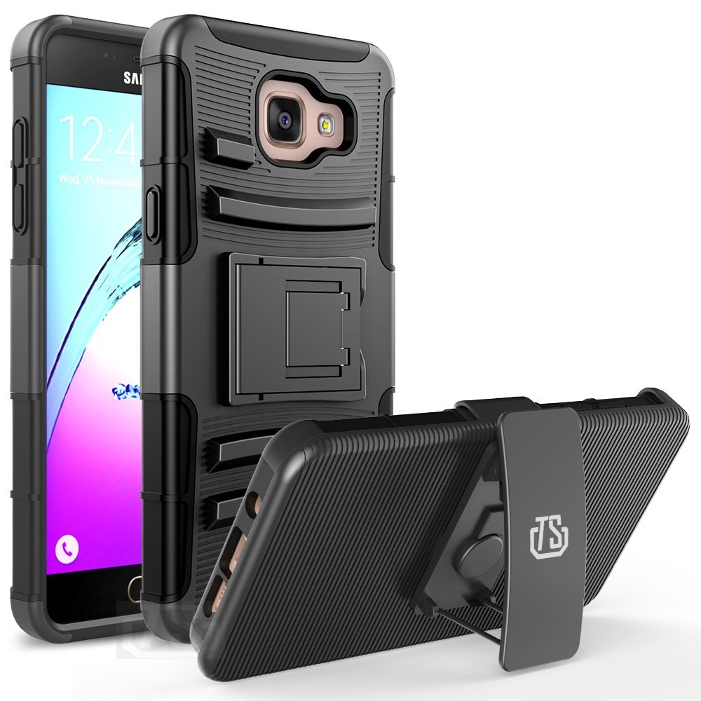 Galaxy A5 (2016 Release) case TownShop® Black Rugged Impact Armor Hybrid Kickstand Cover with Belt Clip Holster Case For Samsung Galaxy A5/ A510F (2016 Release)