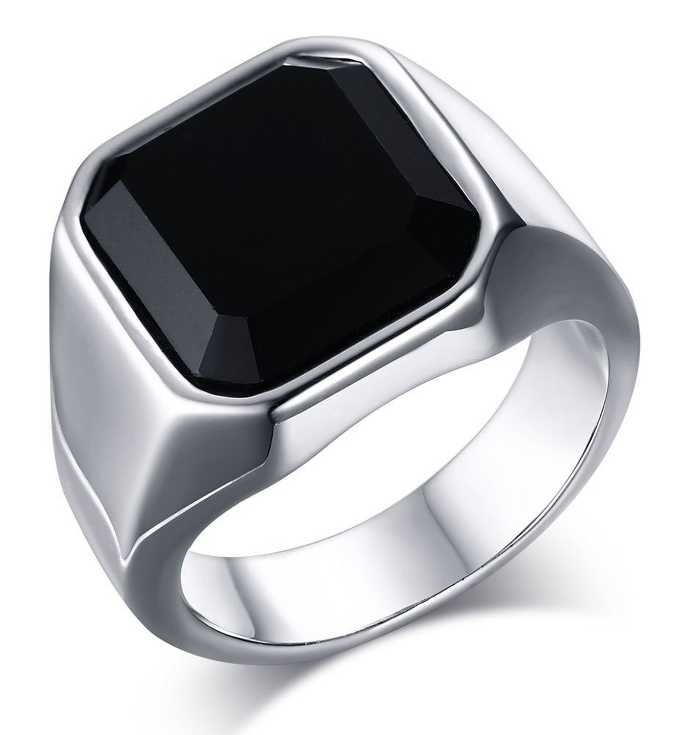 Mealguet Jewelry Fashion Stainless Steel Signet Ring with Black Agate for Men|Amazon.com