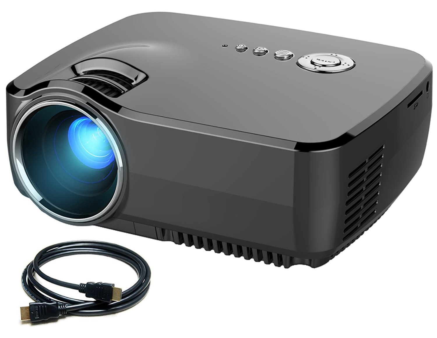 "Micro Projector Meyoung HD Movie Portable Projectors 1200 Lumens 1080P 150"" Built-in TV Tuner for Home Theater,PS2/PS3/XBOX Games,Iphone,Ipad,Mac via HDMI/USB/AV/SD/VGA Port (GP70 Black)"