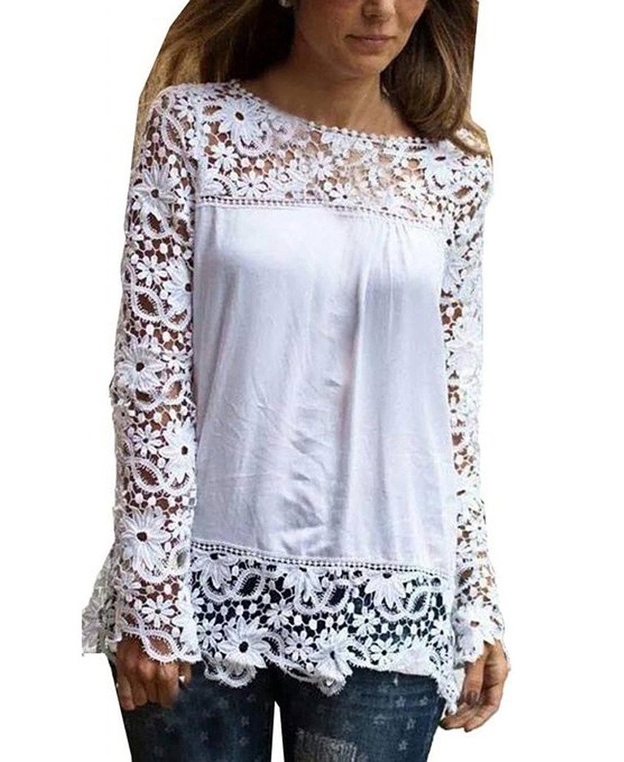 Amoin Women's White Lace Sleeve Chiffon Shirt at Amazon Women's Clothing store