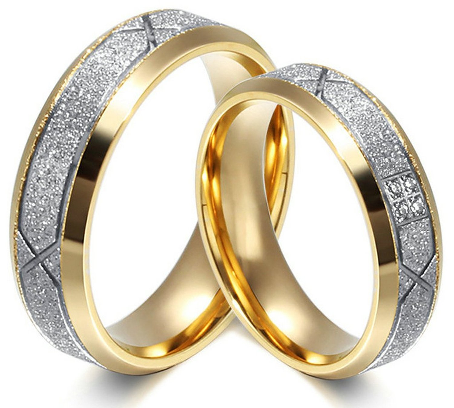 AnazoZ Jewelry Promise Rings for His and Her Couple Ring Titanium Wedding Engagement Band Top AAA CZ Ring 6mm, Colour Gold