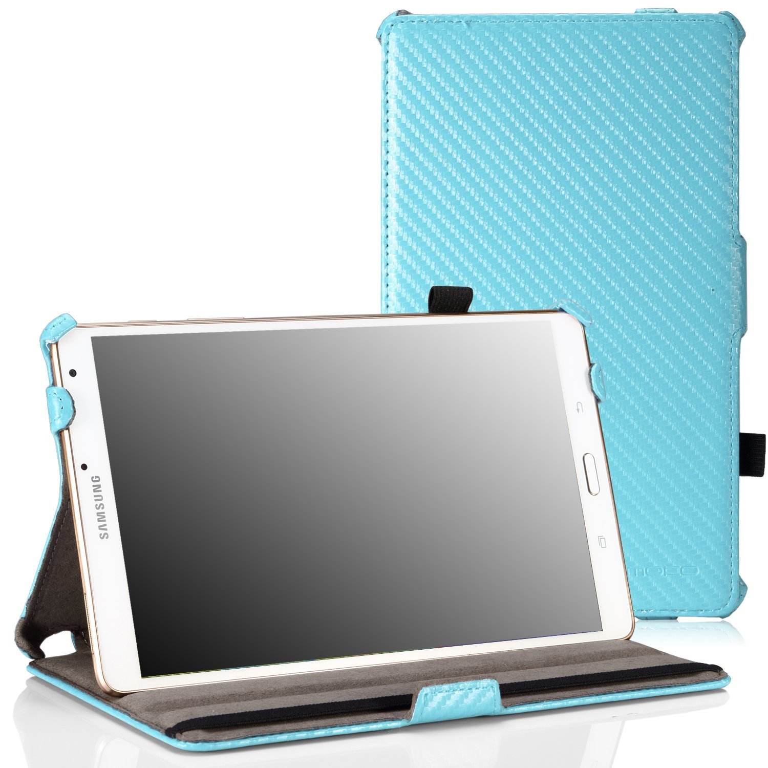 "MoKo Samsung Galaxy Tab S 8.4 Case - Slim-Fit Multi-angle Folio Cover Case with Auto Wake / Sleep and Stylus Pen Loop for Samsung Galaxy Tab S 8.4"" Tablet,Carbon Fiber Light BLUE (Not Fit Tab Pro 8.4)"