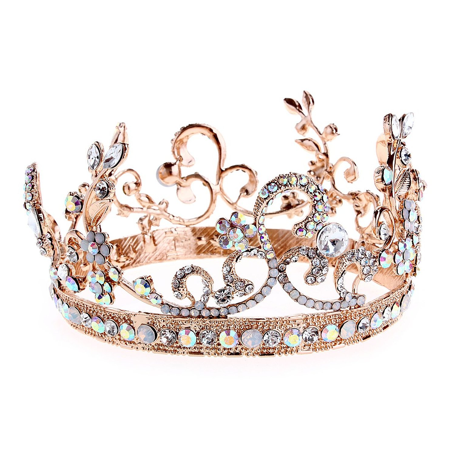 Crazy Genie Bridal Crystal Tiara Crowns Princess Queen Pageant Prom Rhinestone Headband Wedding Hair Accessory (Colorful Rhinestones) at Amazon Women's Clothing store