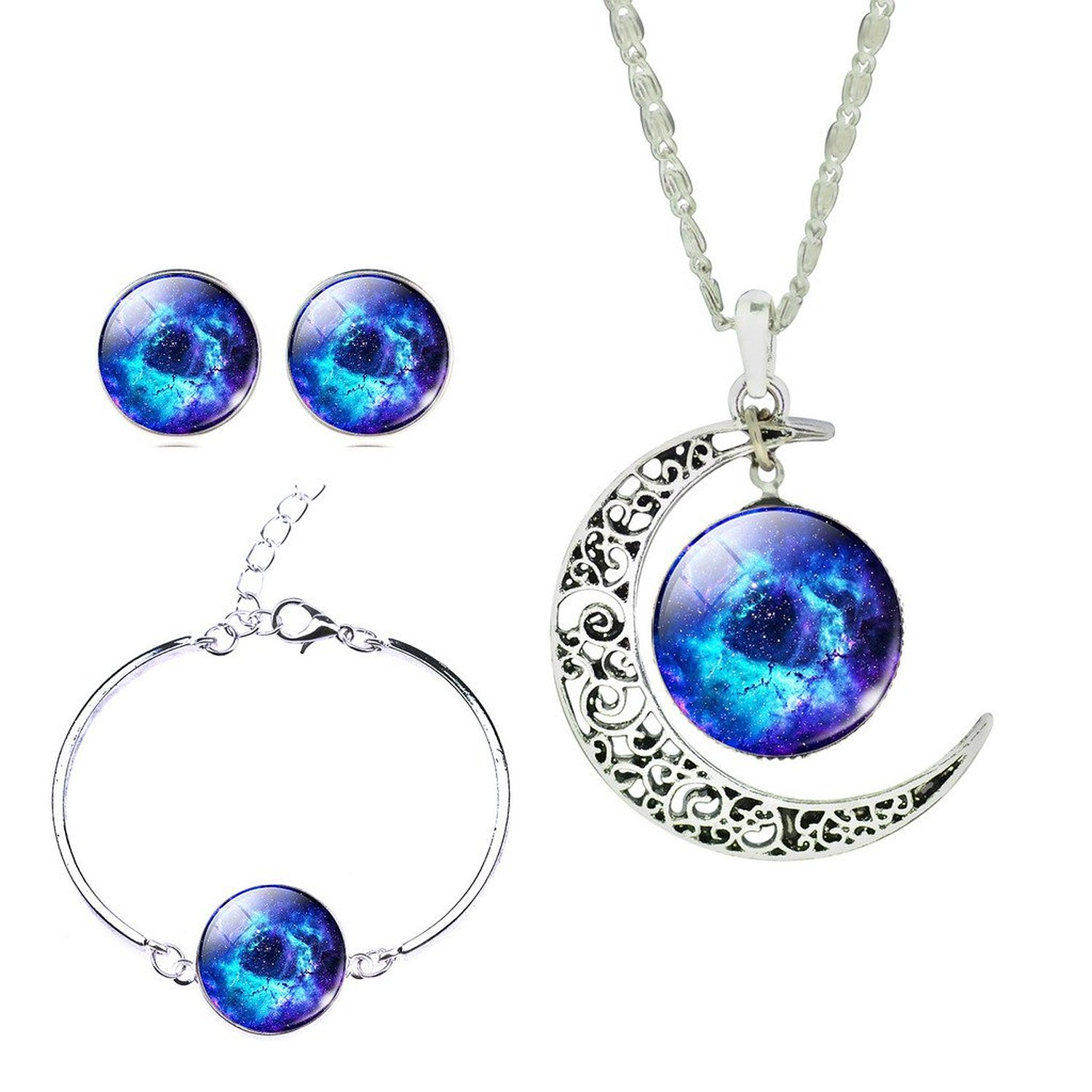 Men Fancy Galaxy Outer Space Hollow New Moon Crystal Cabochon Necklace Earrings Bracelet Jewelry Set