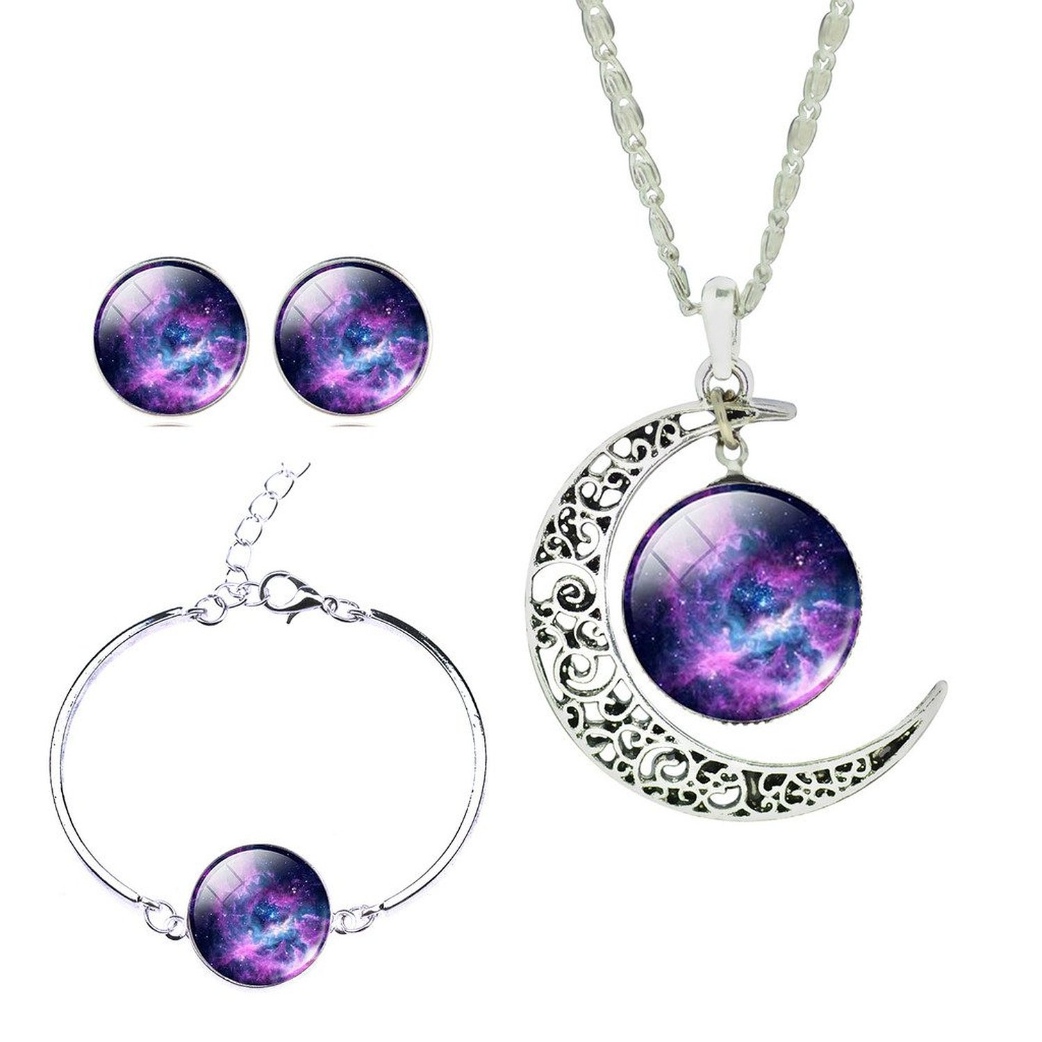 Girls Magical Solar System Helix Nebular Arch Moon Pendant Necklace Crystal Earrings Bracelet Set