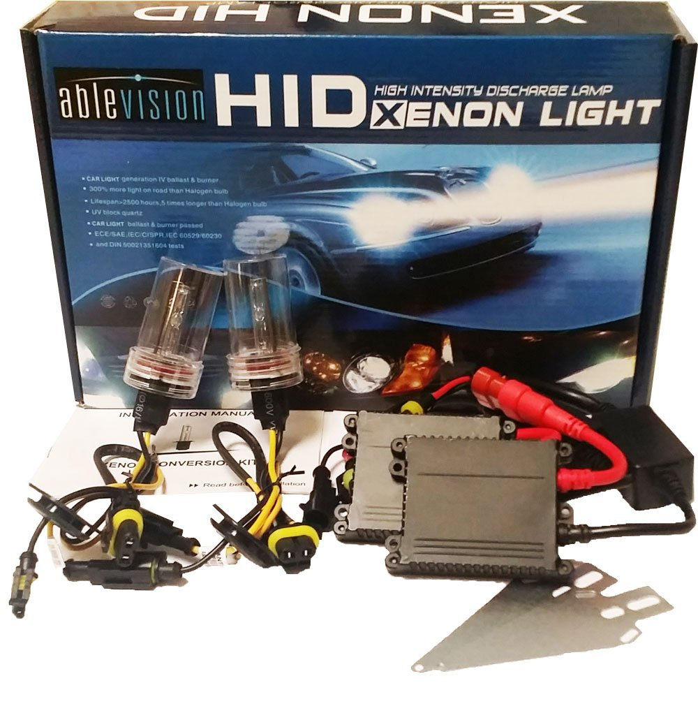 Ablevision 55w Hid Xenon Conversion Kit Slim Ballast Single Beam and Bi-xenon Options H1 H3 H4 H7 H8 H9 H10 H11 H13 Hb3 9004 9005 9006 9007 (H4 (Bixenon), 6000K (Pure White))