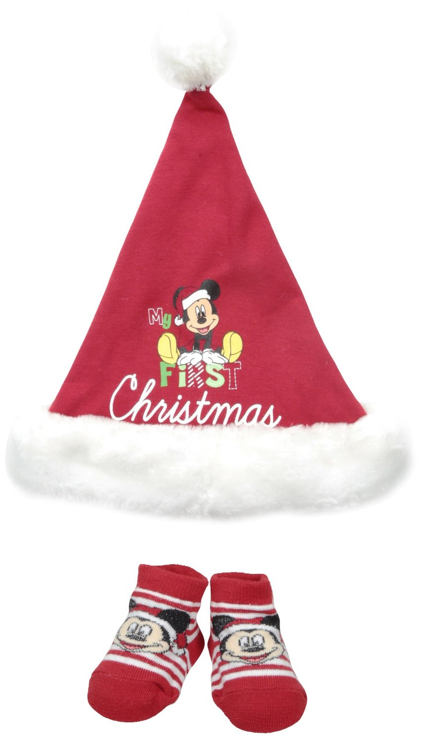 Disney Baby-Boys Newborn Mickey My First Christmas Set, Red, 0-12 Months