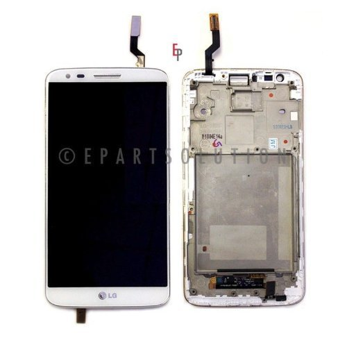ePartSolution-OEM LG G2 D800 D801 LCD Display Touch Digitizer Screen with Frame Assembly White Replacement Part USA Seller