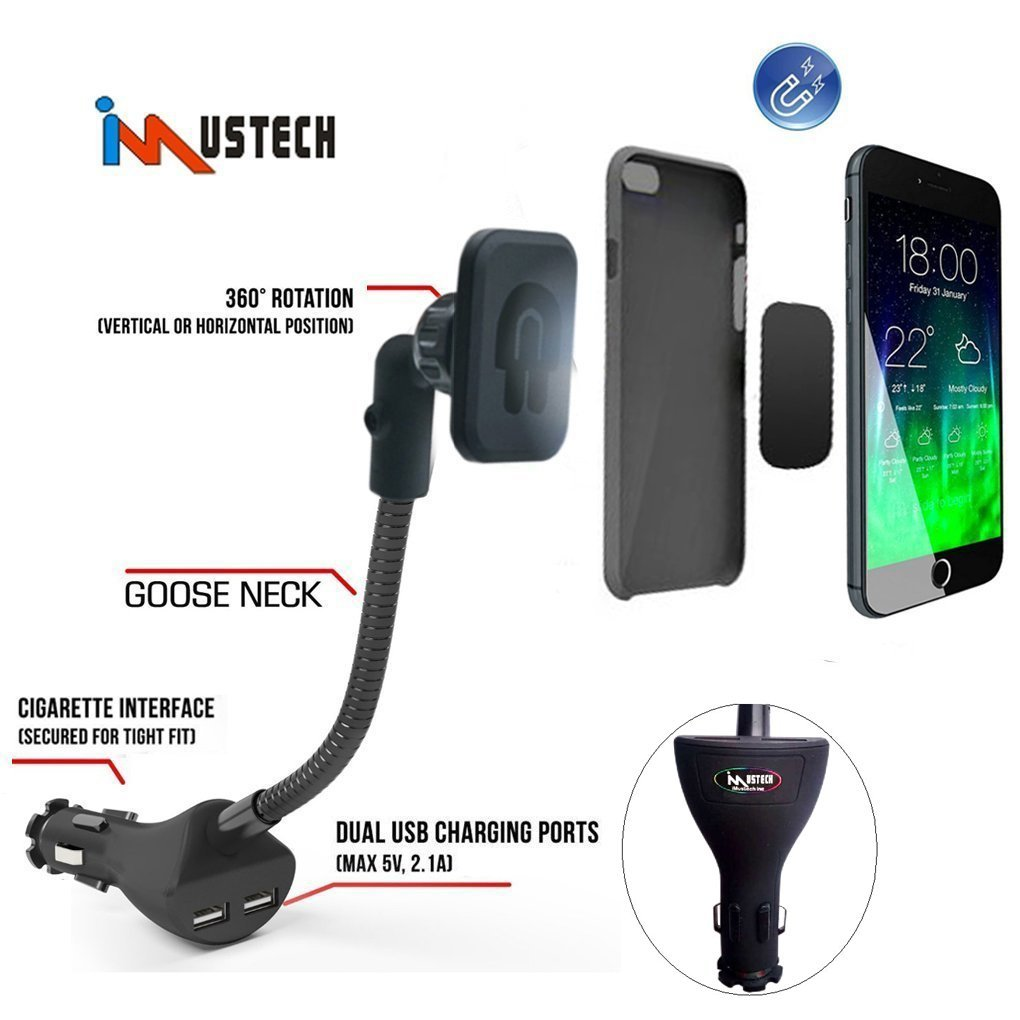 iMustech®【4cm Longer】Magnetic Cell Phone Car Mount Holder With Dual USB Charger Cigarette Quick Charge For Iphone5s, 6,6s, 6s Plus, 6 Plus, Phone Holder For Samsung Galaxy S6, S6 Edge And Other