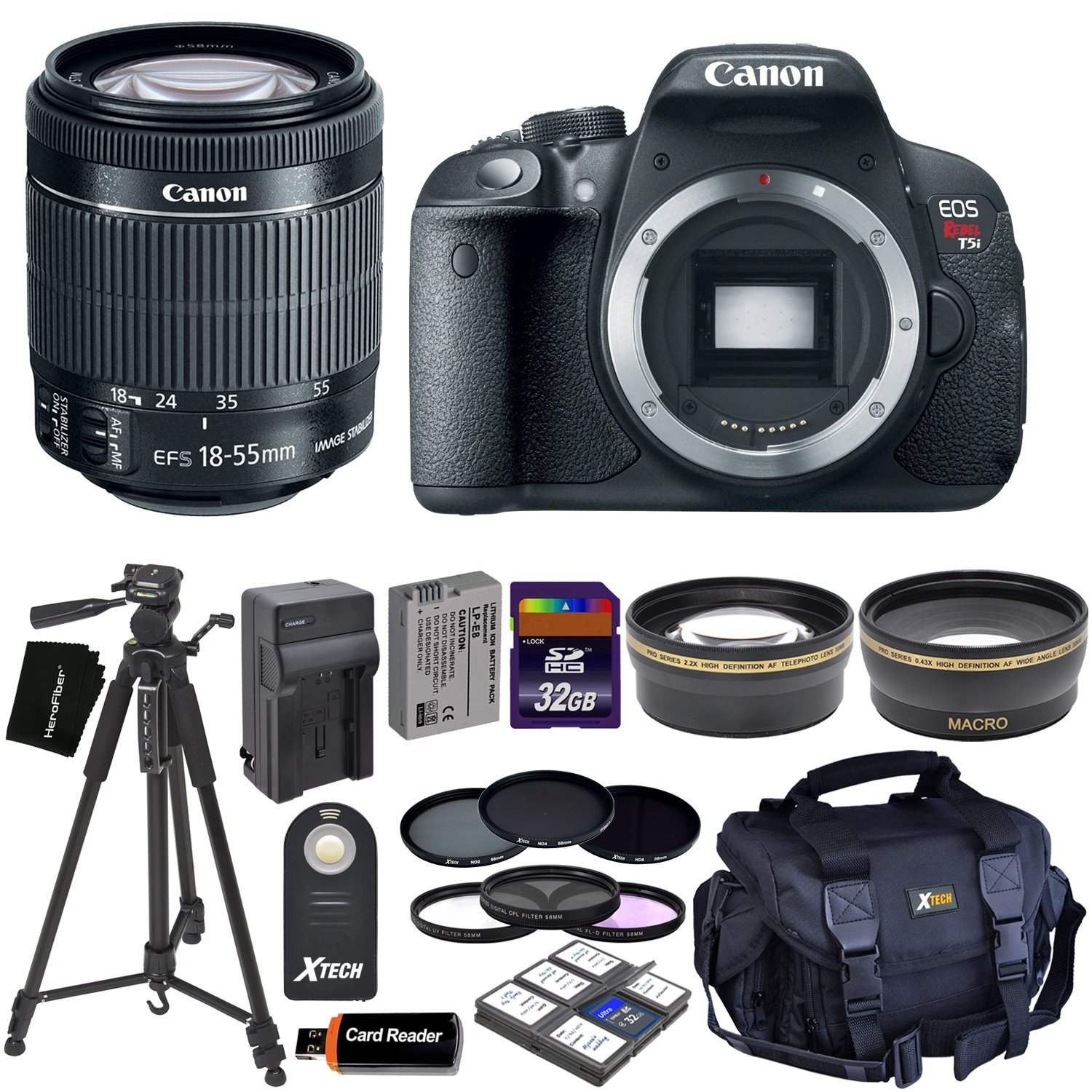 Amazon.com : Canon EOS Rebel T5i Digital SLR Camera with EF-S 18-55mm IS STM Lens (International Version) + Tele & Wide Lenses + Neutral Density Filters ND2, ND4, ND8 + 15pc 32GB Dlx Accessory Kit