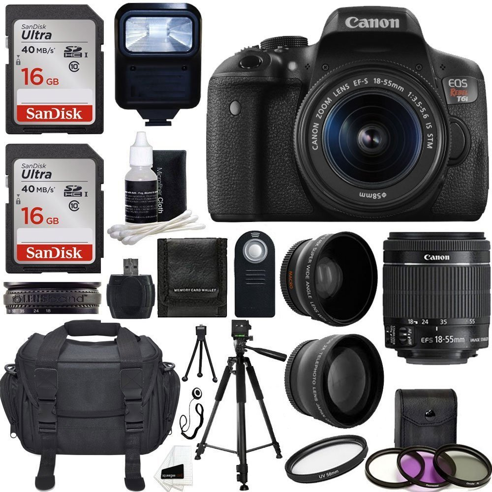 Amazon.com : Canon EOS Rebel T6i DSLR CMOS Digital SLR Camera with EF-S 18-55mm f/3.5-5.6 IS STM Lens + 58mm 2x Professional Lens + Wide Angle Lens + Tripod + Flash +UV Kit + Sandisk 32GB Deluxe Accessory Bundle