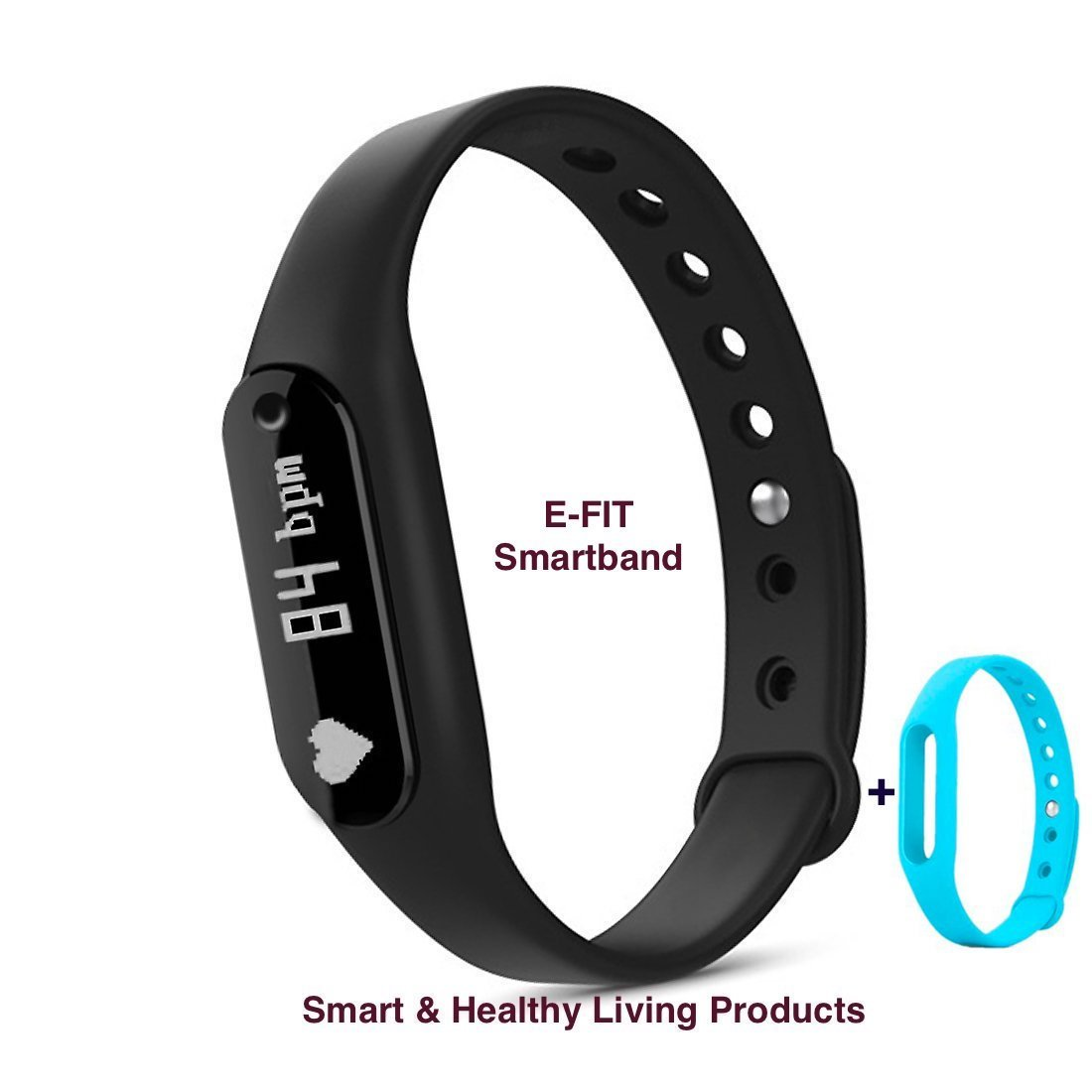 Amazon.com : E-FIT New Smart band, Heart Rate Monitor, Step Tracker, Pedometer, Smart Bracelet, Fitness Tracker, Bluetooth Health Smartband for iOS & Android phones + One Free Color Band (Black-Blue)