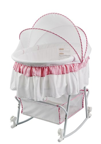 Amazon.com : Dream On Me Lacy Protable 2 in 1 Bassinet and Cradle, Pink/White : Rocking Bassinet