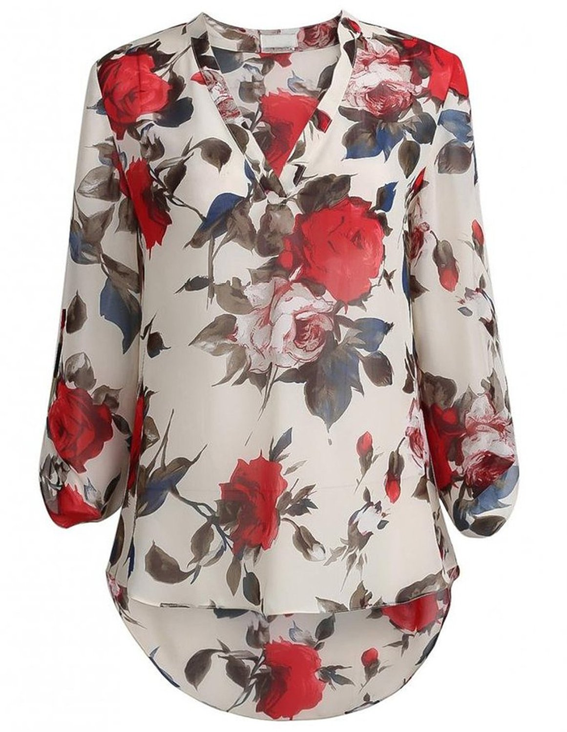 SheIn Women's Apricot Floral Printed V Neck High Low Hem Blouse at Amazon Women's Clothing store