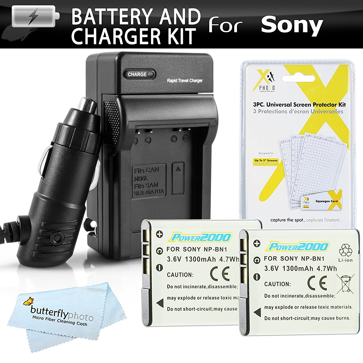 2 Pack Battery And Charger Kit For Sony Cyber-shot DSC-W800, W800/B, W800/S, DSC-W830, DSCW830/B, DSCW830, DSCWX220/B Digital Camera Includes 2 Replacement NP-BN1 Batteries + Ac/Dc Charger + More