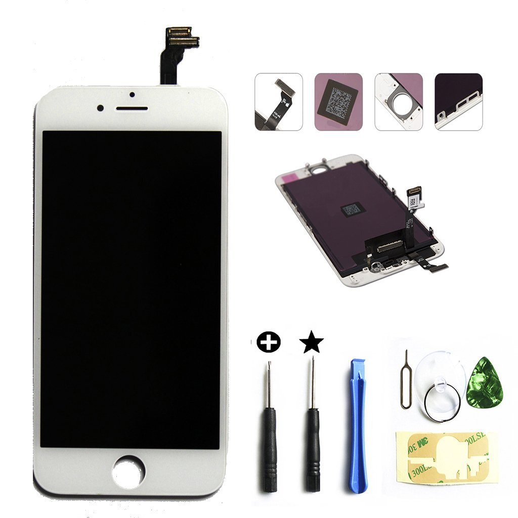 PassionTR LCD Touch Screen Digitizer Frame Assembly Full Set Touch Screen Replacement for iPhone 6, 4.7-inch, White