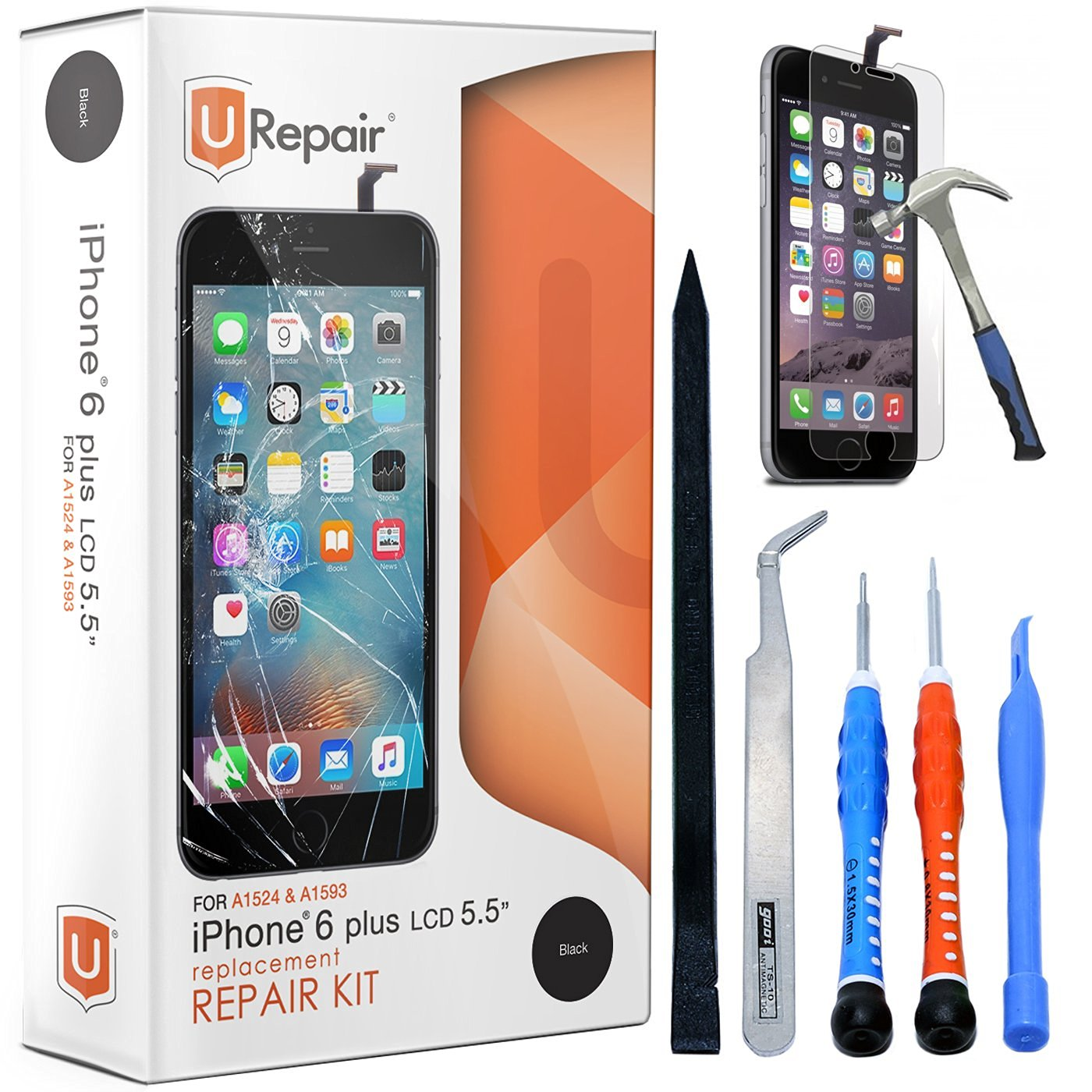 iPhone 6 Plus Screen Replacement - Black - LCD Premium Complete Repair Kit with Tools - Easy Manuals Videos and Instructions - with Glass Screen Protector,Touch Panel Display Digitizer Assembly