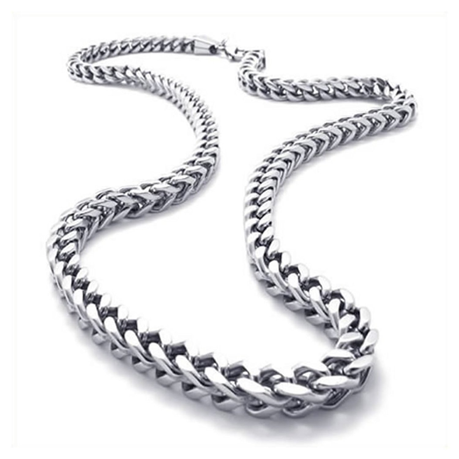 KONOV Stainless Steel Mens Necklace Link Chain - Silver - Length 22 inch | Amazon.com