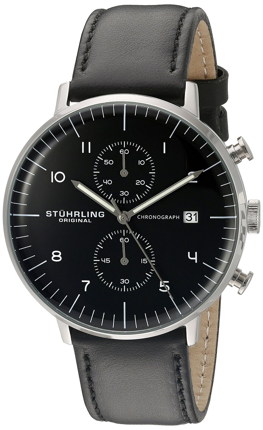Stuhrling Original Men's 'Monaco' Quartz Chronograph Date Stainless Steel and Leather Dress Watch, 803.01,Black