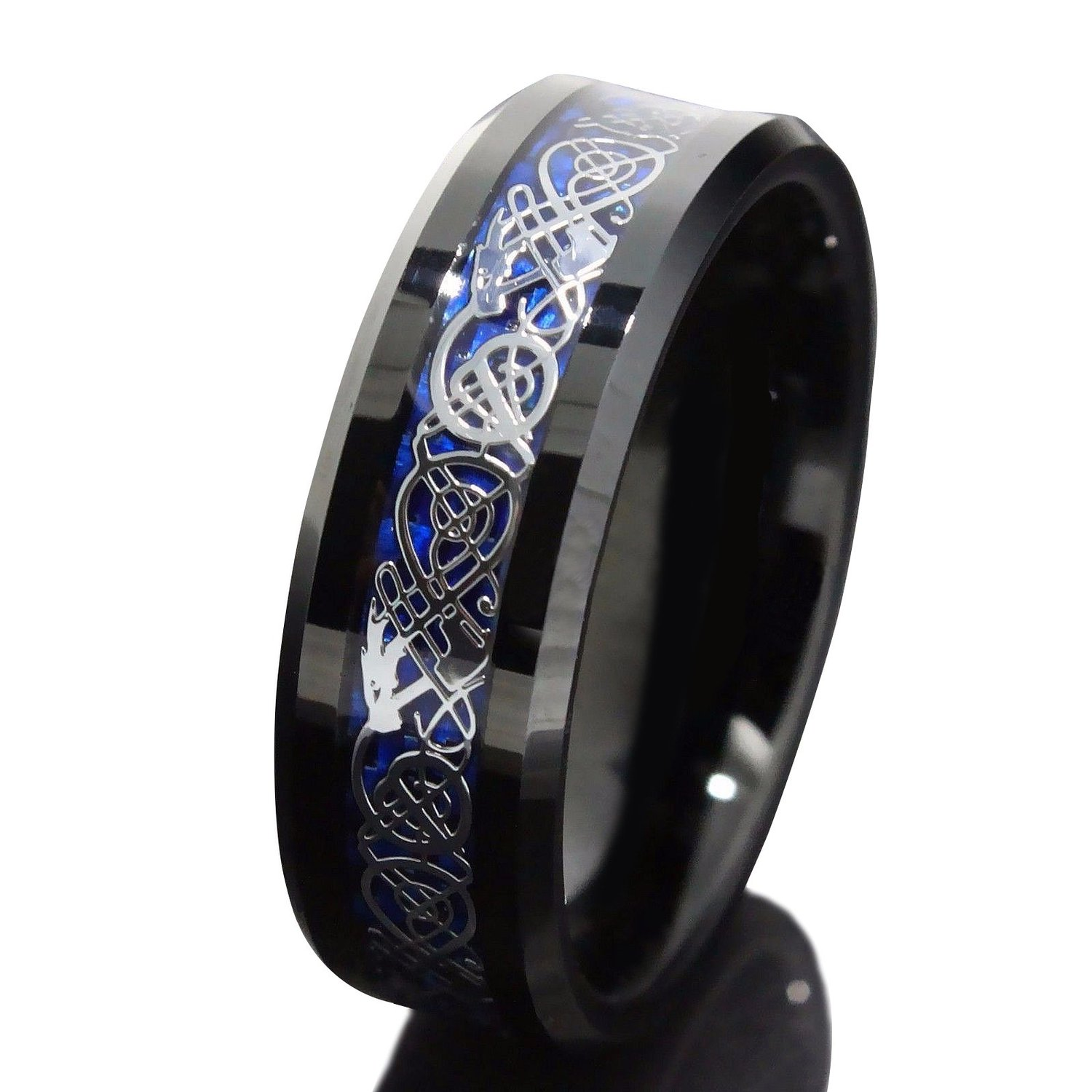 8mm Black Tungsten Carbide Ring Silvering Celtic Dragon Blue Carbon Fibre Wedding Band Mens Size 6-13 | Amazon.com