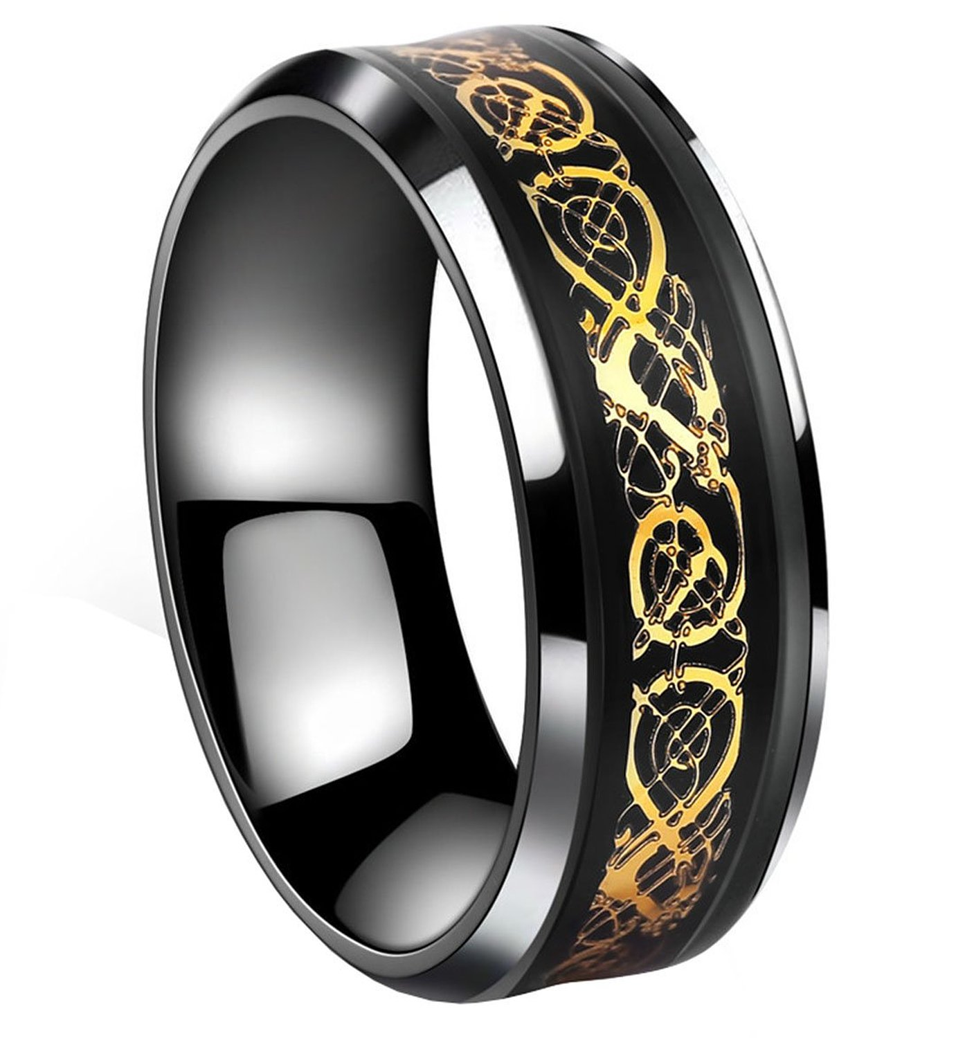 Tanyoyo Black Celtic Dragon Titanium steel Carbide Ring Gold Carbon Fibre Wedding Band Jewelry Size 5-14|Amazon.com