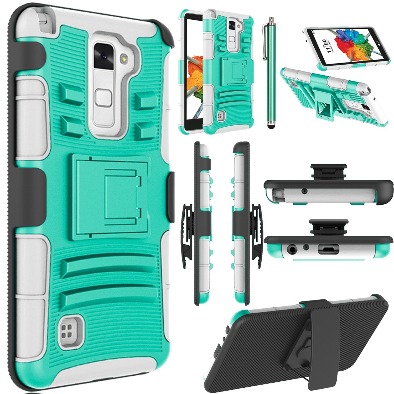 LG Stylo 2 Plus Case, LG Stylus 2 Plus Case, EC™ Dual Layer Rugged Holster Case Cover with Kickstand & Belt Swivel Clip for LG G Stylo 2 Plus / LG Stylus 2 Plus (Turquoise+Grey)