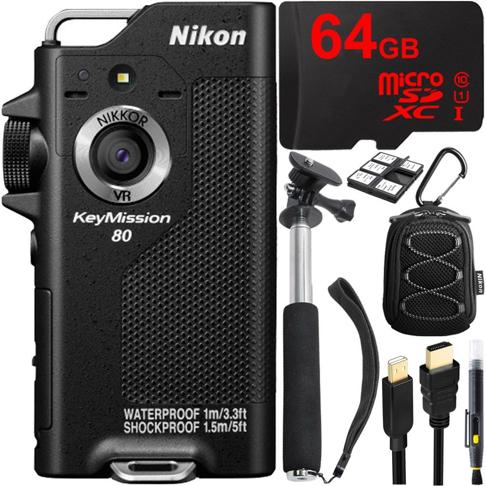 "Nikon KeyMission 80 Full HD Action Camera with Built-In Wi-Fi + 64GB MicroSD Memory Card + Sport Case + 43"" Selfie Stick & More"