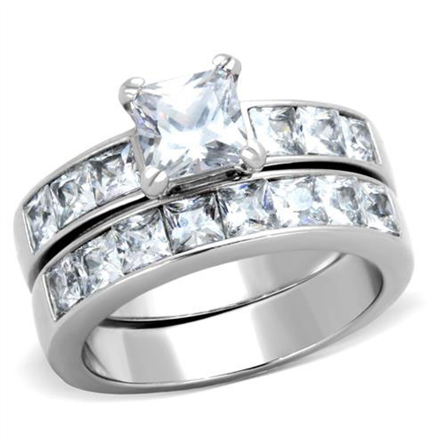 Princess Cut Cubic Zirconia CZ Stainless Steel 2 Pc Women Wedding Engagement Rings Bridal Sets TKJ
