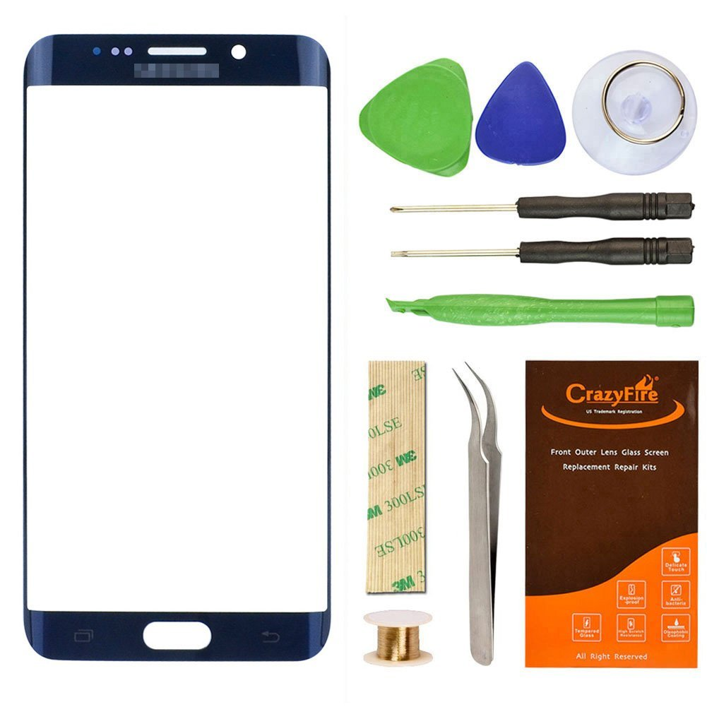 Samsung Galaxy S6 Edge Plus G928F Blue Replacement Front Outer Lens Glass Screen CrazyFire Repair Kit with 1MM Adhesive Tape +Tools Kit+ 1 Pair Tweezers+1 Roll Micro Wire for G928T G928P G928V