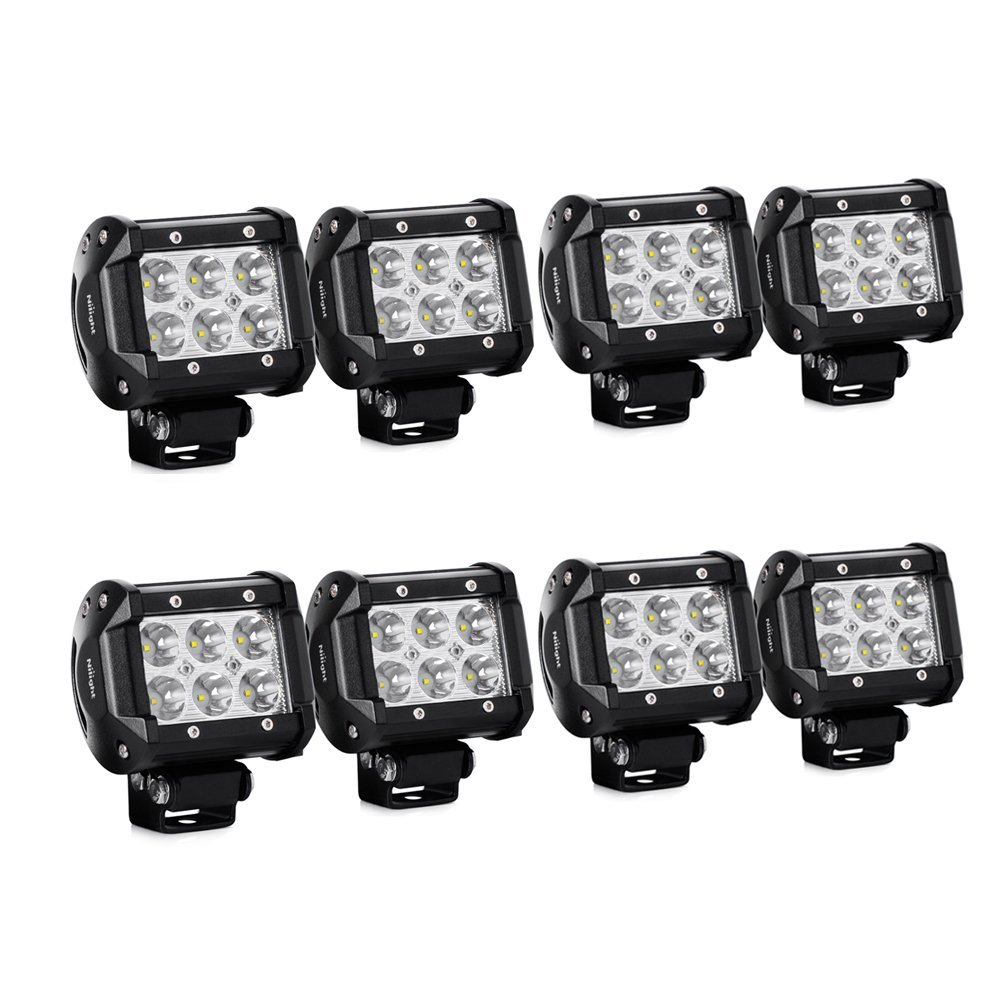 "Nilight 8PCS 18W Spot Led Light Bar Off Road Driving Fog Lamp Super Bright LED Work Light for SUV Boat 4"" Jeep Lamp,2 years Warranty"