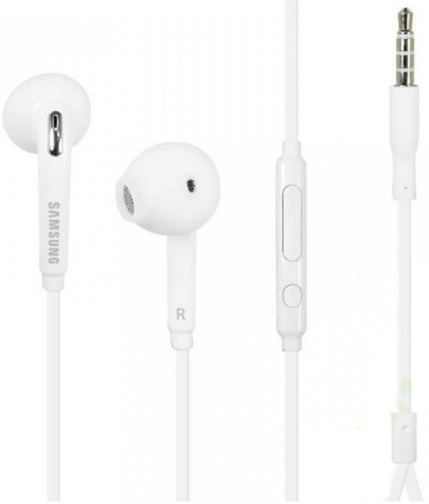 Samsung OEM Wired 3.5mm Headset with Microphone, Volume Control, and Call Answer End Button for Samsung Galaxy S7 and S7 Edge (In Jewel Case - White)