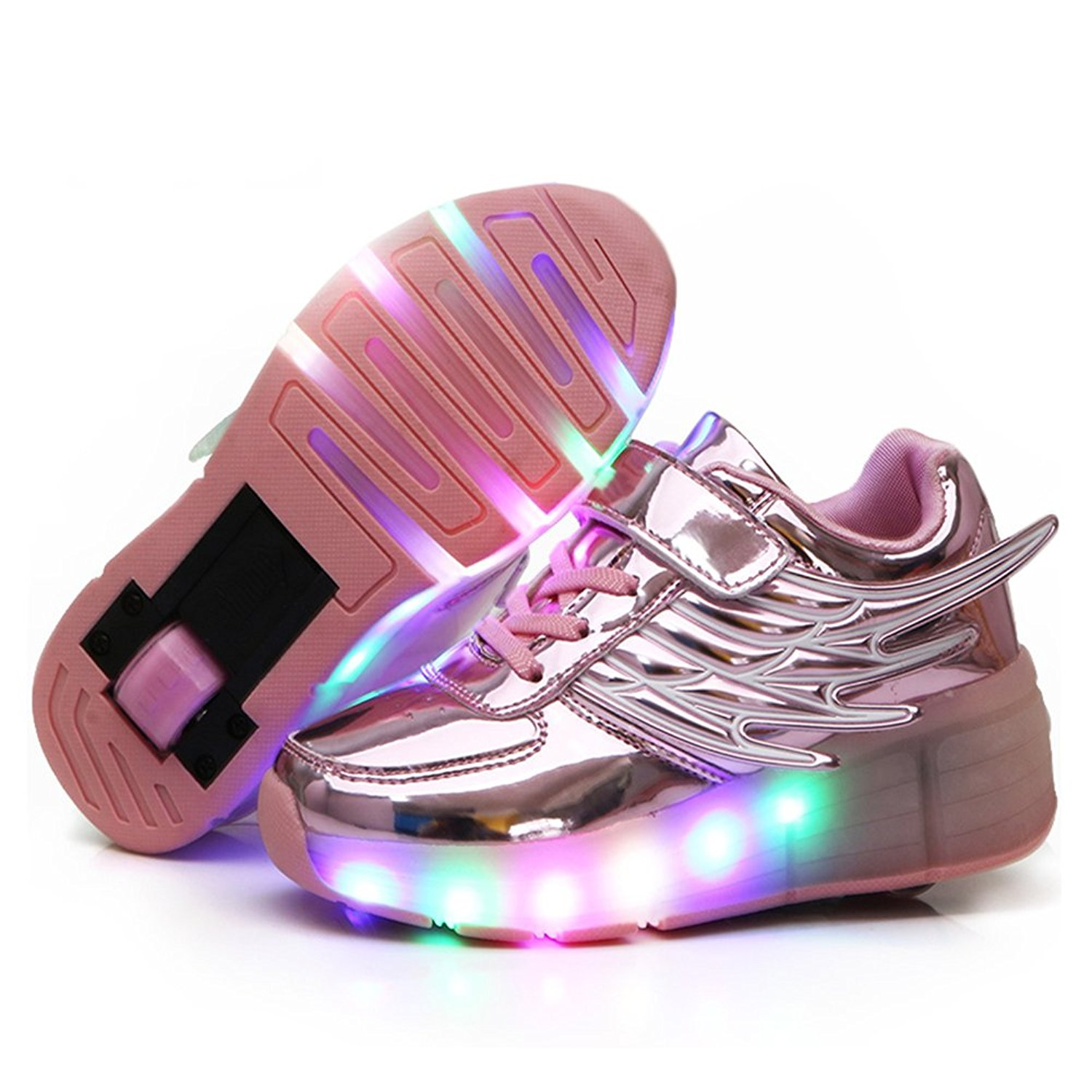 Amazon.com | YCOMI Girl's Boy's LED Light Up Single Wheel Skate shoes Fashion Roller Skate Sneaker (33 Eur / 2.5 M US Little Kid, Pink 02) | Sneakers