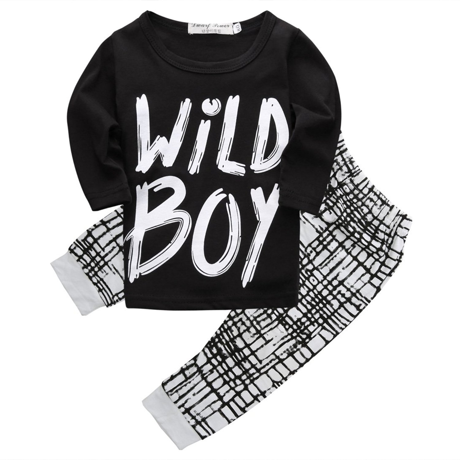 "Baby Boys Spring Autumn Long Sleeve ""Wild Boy"" T-shirt and Pants Outfit"