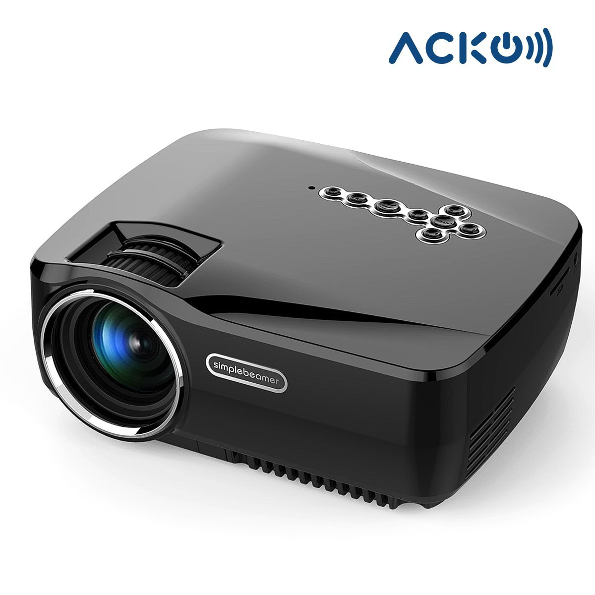 Acko Wifi LED HD Portable Mini Video Projector Bluetooth 1200 Lumens Home Theater 1080p USB HDMI VGA SD Player Computer Laptop Black