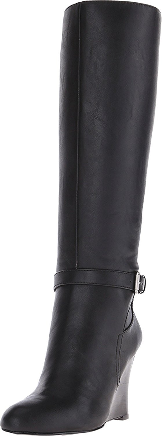 Amazon.com | Nine West Women's NW7 Ovata Black Leather Wedge Boot 6.5 US | Boots