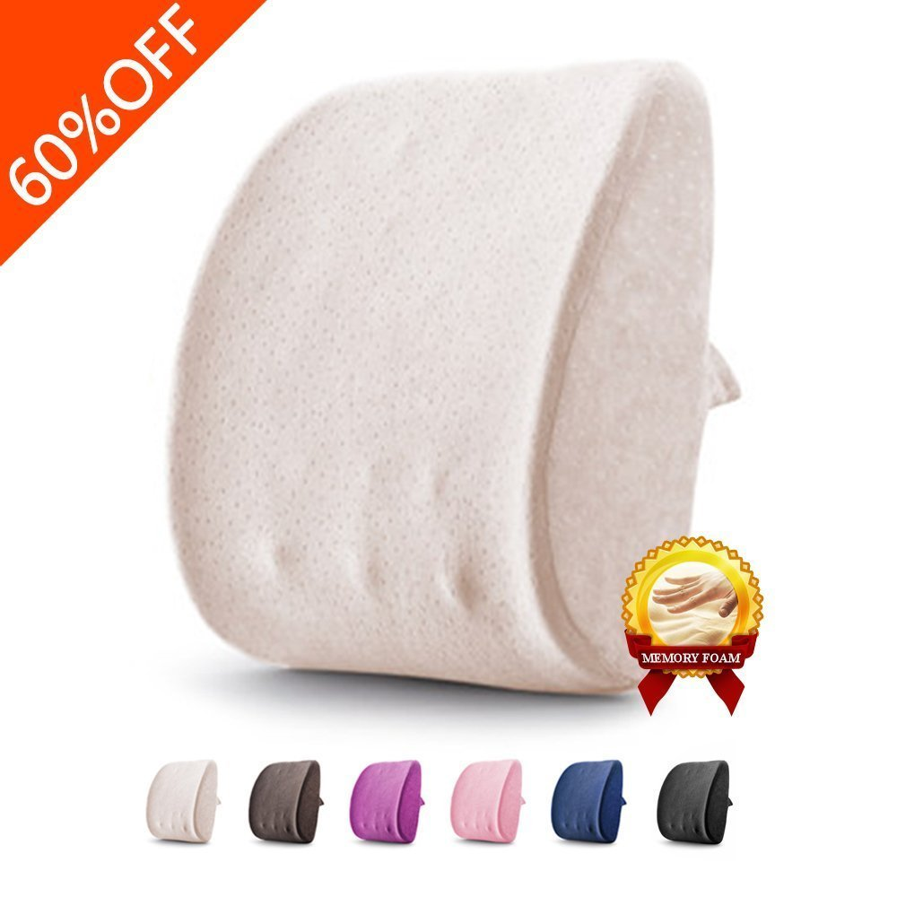 Lumbar Pillow Back Support Pillow 3D Memory Foam Breathable Massage Granules Pillow Cushion for Car Office Chair and Travel Pillow for Back Pain and Sciatica (Beige)