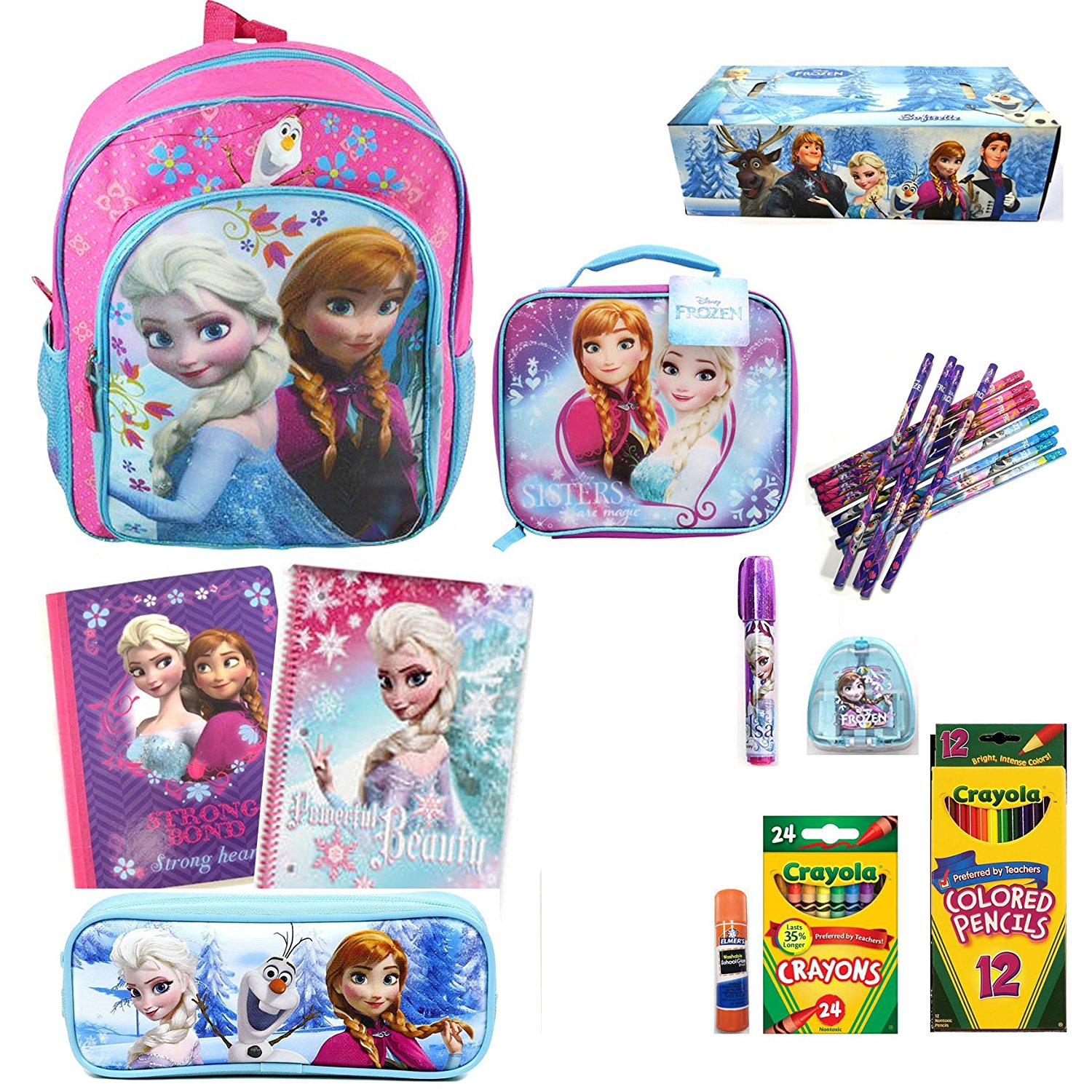 "Amazon.com | Disney Frozen 16"" Backpack Elsa & Anna Sisters Love w/ Matching Lunch Bag Set 