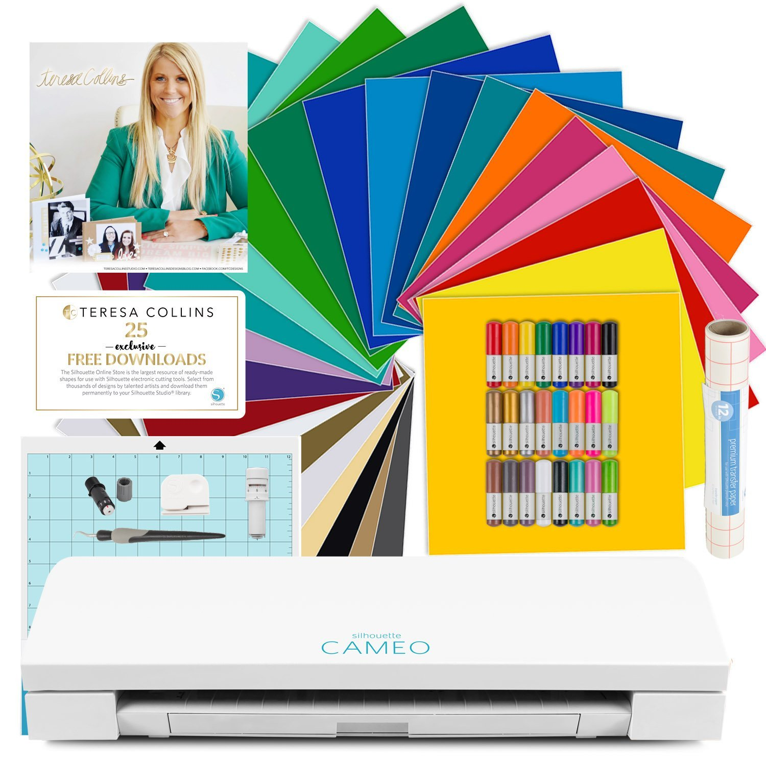 Silhouette CAMEO 3 Bluetooth Machine Bundle - Teresa Collins Exclusive Designs, 24 Oracal 651 Vinyl Sheets, 24 Sketch Pens, Transfer Paper, and More
