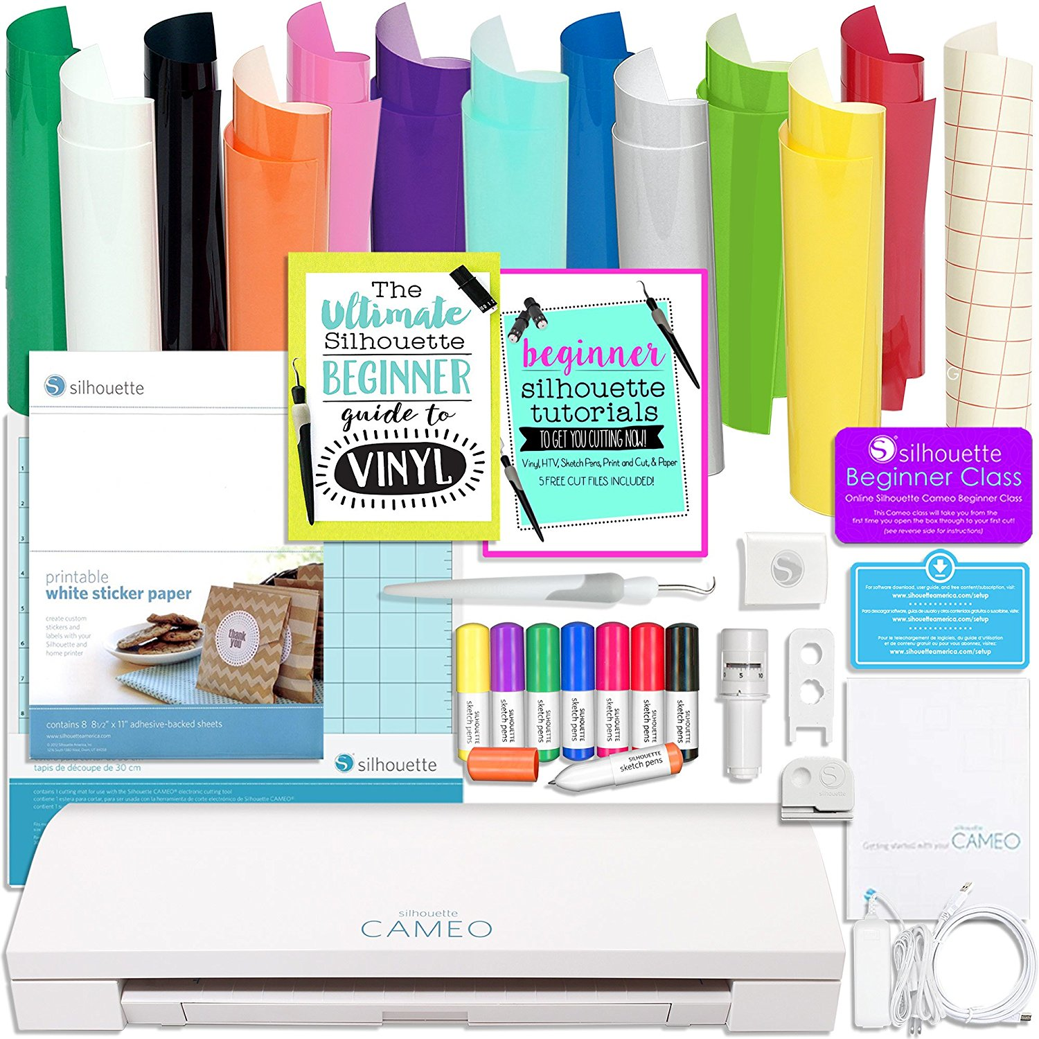 Silhouette Cameo 3 Bluetooth Bundle with Oracal 651 Vinyl, Sketch Pens, Sticker Paper, Guide Books, and More