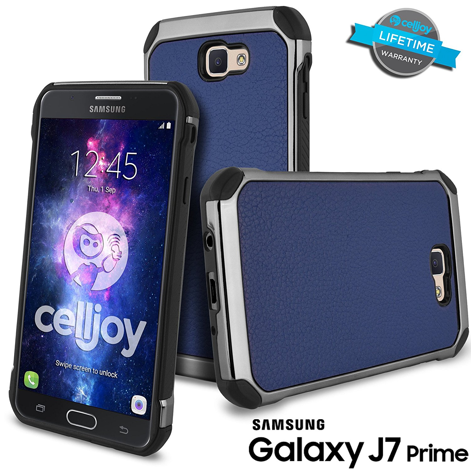 Galaxy J7 Prime Case, Galaxy On7 Case, Celljoy [Deluxe Shock Armor] Slim Fit Dual Layer Protective ((Shockproof)) Hybrid [[Impact Resistant]] Bumper Premium Elegant - Thin Hard Cover (Blue)