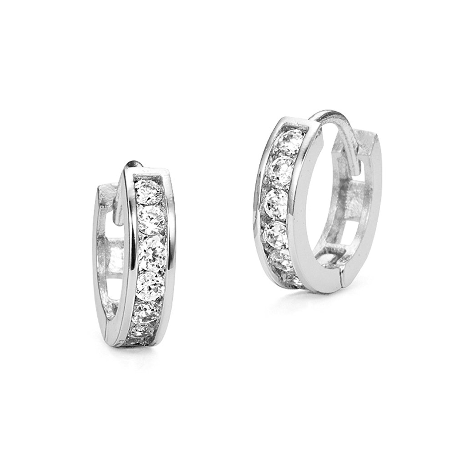 Sterling Silver Rhodium Plated 3mm x 13mm Cubic Zirconia Channel Huggie Earrings