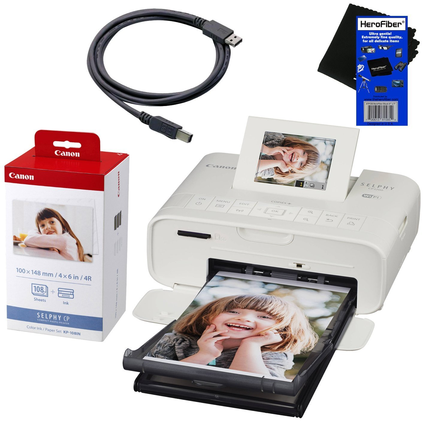 "Canon Selphy CP1200 Wireless Color Photo Printer (White) + Canon KP-108IN Color Ink Paper Set (Produces up to 108 of 4 x 6"" prints) + USB Printer Cable + HeroFiber Ultra Gentle Cleaning Cloth"