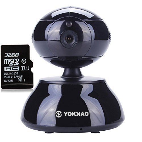 WiFi IP Camera, Yokkao Home Security Baby Monitor Indoor CCTV IR 720P HD Night Vision/ Two Way Audio/ Motion Detection 32G TF Card(KK01 Black)